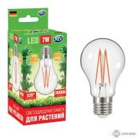 Лампа сд для растений А60 E27 7W FILAMENT, 575-650Нм, PPF>10